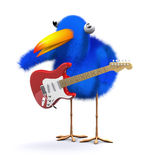 3d Bluebird plays electric guitar. 3d render of a bluebird with an electric guitar Royalty Free Stock Photos