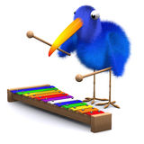 3d Bluebird plays a xylophone. 3d render of a blue bird playing a xylophone Royalty Free Stock Image