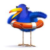 3d Bluebird rescue. 3d render of a blue bird with a lifering Royalty Free Stock Image