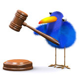 3d Bluebird runs an auction. 3d render of a blue bird with an auctioneers gavel Royalty Free Stock Image