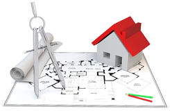 3d Blueprints,compass,pencils and house. 3d construction concept. Blueprints,compass,pencils and house Stock Image