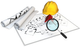 3d Blueprints, magnifying glass and hard hat. 3d construction concept. Blueprints, magnifying glass and hard hat Stock Image