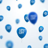 3D blurred blue discount balloons design. SALE concept background for shop store market.  Royalty Free Stock Images