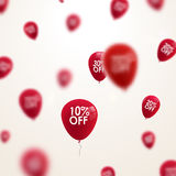 3D blurred red discount balloons design. SALE concept background for shop store market Stock Image