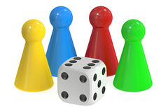 3D Board Game Pieces and Dice Stock Images