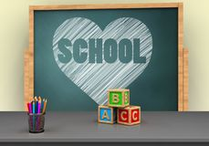 3d board. 3d illustration of board with heart and school text and abc cubes Royalty Free Stock Image