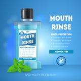 3d boca detalhada realística Rinse Ads Card Poster Vetor ilustração royalty free