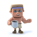 3d Bodybuilder drinks a cup of coffee. 3d render of a bodybuilder drinking a cup of coffee Royalty Free Stock Images