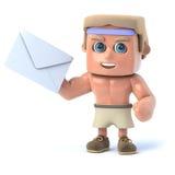 3d Bodybuilder gets mail Stock Images
