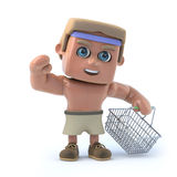 3d Bodybuilder goes shopping. 3d render of a muscular bodybuilder holding an empty shopping baskets Stock Photography