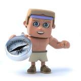 3d Bodybuilder has a compass Stock Photos