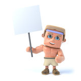 3d Bodybuilder has a placard. 3d render of a bodybuilder holding a placard Stock Photo