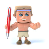 3d Bodybuilder holding a pen. 3d render of a bodybuilder holding a pen Royalty Free Stock Photography