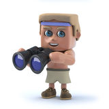 3d Bodybuilder looks through binoculars Royalty Free Stock Photography
