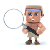 3d Bodybuilder looks through a magnifying glass. 3d render of a bodybuilder holding a magnifying glass Royalty Free Stock Images