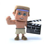 3d Bodybuilder makes a movie. 3d render of a bodybuilder with a clapperboard Stock Photography