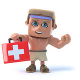 3d Bodybuilder offers first aid. 3d render of a bodybuilder holding a first aid kit Stock Photo