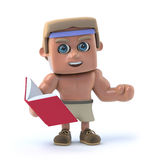3d Bodybuilder reads a book. 3d render of a bodybuilder holding a book Royalty Free Stock Photos