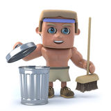 3d Bodybuilder takes out the rubbish. 3d render of a bodybuilder with a trash can and broom Stock Photo