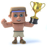3d Bodybuilder wins the gold cup Royalty Free Stock Images