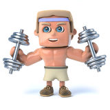3d Bodybuilder works out Stock Image
