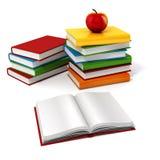 3d boeken en appel Royalty-vrije Stock Afbeeldingen