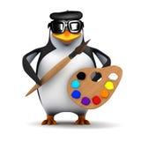 3d Bohemian penguin painter Royalty Free Stock Image