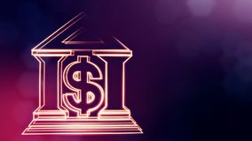 Знак доллара и эмблема банка Предпосылка финансов светящих частиц анимация петли 3D с глубиной поля, bokeh иллюстрация штока