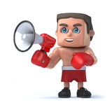 3d bokser komunikuje z megafonem ilustracja wektor