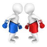 3d boksers kijkt oog aan oog Stock Afbeelding