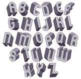 3d bold and big font, monochrome dimensional alphabet made with. Round shapes, geometric letters for design Stock Images