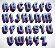 3d bold and big font, monochrome dimensional alphabet made with. Round shapes, geometric letters for design Royalty Free Stock Photography