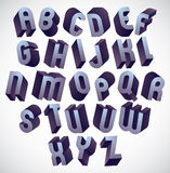 3d bold and big font, monochrome dimensional alphabet made with. Round shapes, geometric letters for design Stock Photography
