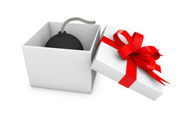 3d bomb in gift box. 3d render of bomb in gift box Royalty Free Stock Photography