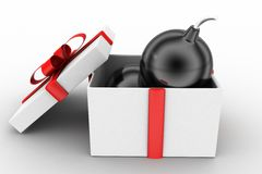 3d bomb on gift concept Royalty Free Stock Image