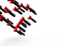 3d bombs falling. 3d render of bombs falling diagonally Royalty Free Stock Photo