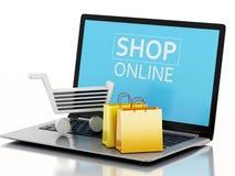 3d Boodschappenwagentje op Laptop Het concept van de elektronische handel Royalty-vrije Stock Afbeelding