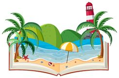 A 3D Book Beach Theme. Illustration Royalty Free Stock Image