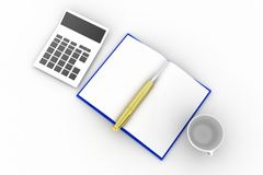 3d book calculator pen cup Royalty Free Stock Photos