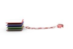 3d book chain concept Stock Photos