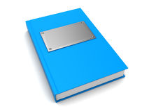 3d book. 3d illustration of blue book with metal plate on cover Royalty Free Stock Photography
