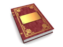 3d book. 3d illustration of book with golden and leather cover, over white background Stock Images