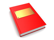 3d book. 3d illustration of book with golden plate on cover Royalty Free Stock Image