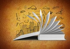 3D Book open turning pages against orange background with city illustration drawings Royalty Free Stock Images