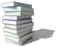 3d book stack. Random colored, isolated on white Royalty Free Stock Images