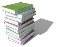 3d book stack. Random colored, isolated on white Stock Image