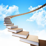Books stair. 3d book stair and blue sky Stock Images