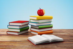 3d books and apple. School background Royalty Free Stock Image