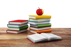 3d books and apple. School background Royalty Free Stock Photography