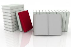3d books. On background white Royalty Free Stock Photo